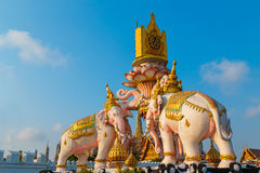 The Elephants Statues in front of Wat Phrakew Temple in Bangkok Royalty Free Stock Photo