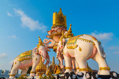 The Elephants Statues in front of Wat Phrakew Temple in Bangkok Royalty Free Stock Photos