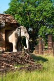 Elephants statues on ruins of Buddhist temple. Stock Images