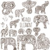 Elephants in the style of mehendi. A set of elephants in the mehendi style Royalty Free Stock Image