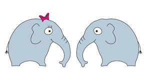 Elephants. Two cartoon elephants, female and male Royalty Free Stock Photo