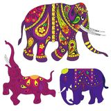 Elephants. Vector decorated Indian Elephant. Indian ornament Stock Images