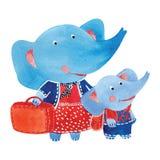 Elephants. Watercolor illustration of elephants family, vector Royalty Free Stock Photo