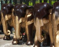 The elephants wooden craft Stock Photos