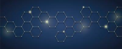 Eletrônica digital do fundo técnico dourado e azul do favo de mel ilustração stock