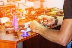 Eletrônico, produção, fábrica, fabricação, indústria, techno imagens de stock