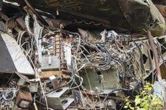 Eletrônica no avião destruído foto de stock