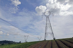 Eletric transmission tower Stock Photos