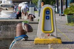 Eletrical Distribution Pedestal on a Jetty Stock Images