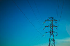 Eletrical network blue sky Stock Images