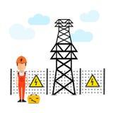 Eletricidade, cartaz super de alta tensão do negócio do sumário da qualidade ilustração do vetor