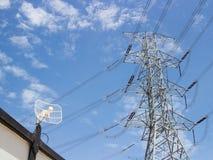 Eletricidade da antena parabólica e da alta tensão Imagens de Stock Royalty Free
