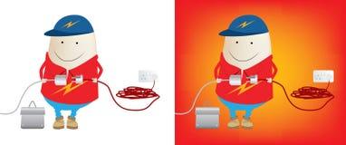 Eletricista aproximadamente para conectar a potência ilustração royalty free