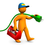 Eletricista com caixa de ferramentas e conector Fotos de Stock