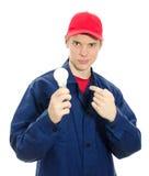 Eletricista novo no uniforme Fotos de Stock Royalty Free