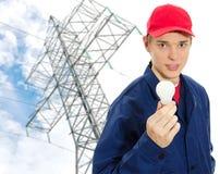 Eletricista novo no uniforme Fotografia de Stock