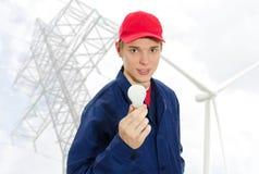 Eletricista novo no uniforme Fotografia de Stock Royalty Free