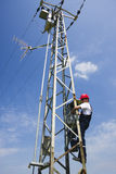 Eletricista que trabalha no polo da energia elétrica Foto de Stock Royalty Free