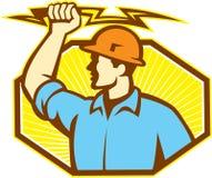 Eletricista Wielding Lightning Bolt ilustração do vetor