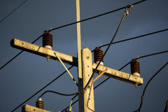 Eletricity line in dark sky sunset time Stock Photography
