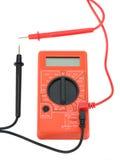 Eletro vermelho do verificador para medir o voltímetro atual Fotos de Stock