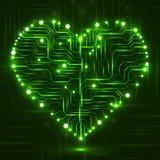 Eletronic circut board in shape of heart Stock Image