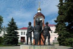 ELETT./LIPECK, RUSSIA - 8 MAGGIO 2017: il monumento alle protezioni della città sempre immagine stock