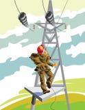 Elettricista che lavora con le linee elettriche - illustrazione Immagine Stock
