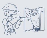 Elettricista che ripara un pannello elettrico Immagini Stock