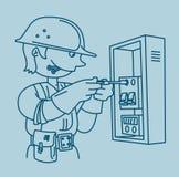 Elettricista che ripara un pannello elettrico Fotografia Stock