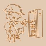 Elettricista che ripara un pannello elettrico Fotografia Stock Libera da Diritti