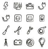 Elettricista Icons Freehand Fotografie Stock Libere da Diritti