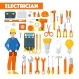 Elettricista Icons Set di professione con il voltometro e gli strumenti Immagini Stock