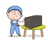 Elettricista Repairing del fumetto un'illustrazione di vettore della televisione illustrazione vettoriale