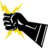 Elettricità della stretta della mano del guanto Immagini Stock