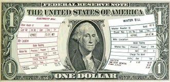 Elettricità, fatture di acqua su 1 dollaro Stati Uniti. Concetto Immagine Stock