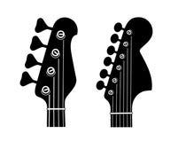 Elettrico e Bass Guitar Headstock Silhouettes isolati su fondo bianco illustrazione di stock