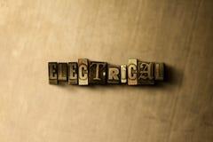 ELETTRICO - il primo piano dell'annata grungy ha composto la parola sul contesto del metallo immagine stock libera da diritti