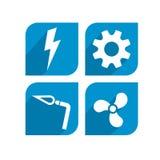 Elettrico, meccanico, saldando, progettazione dell'icona di HVAC Fotografie Stock Libere da Diritti