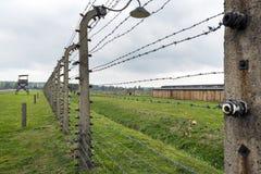 Elettrico recinti il campo di sterminio di Auschwitz II in Brzezinka, Polonia Immagini Stock Libere da Diritti