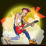 Elettro giocatore di chitarra con l'irochese Immagine Stock Libera da Diritti