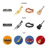 Elettro organo, tromba, tamburino, chitarra della corda Gli strumenti musicali hanno messo le icone della raccolta nel fumetto, i royalty illustrazione gratis