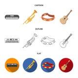 Elettro organo, tromba, tamburino, chitarra della corda Gli strumenti musicali hanno messo le icone della raccolta nel fumetto, p illustrazione di stock