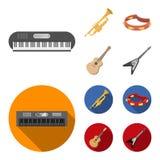 Elettro organo, tromba, tamburino, chitarra della corda Gli strumenti musicali hanno messo le icone della raccolta nel fumetto, v royalty illustrazione gratis