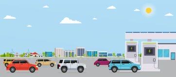 Elettro stazione di servizio con le automobili sulla città di eco del fondo Fotografia Stock