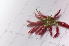 Elettrocardiogramma con un mazzo di peperoncini rossi disidratati Immagine Stock Libera da Diritti