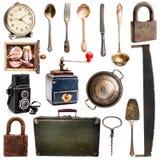 Elettrodomestici degli oggetti d'antiquariato differenti Fotografia Stock Libera da Diritti