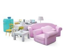 Elettrodomestici e mobilia isolati 3d rendono Fotografia Stock