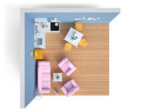 Elettrodomestici e mobilia isolati 3d rendono Fotografia Stock Libera da Diritti