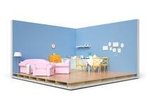 Elettrodomestici e mobilia isolati 3d rendono Fotografie Stock Libere da Diritti